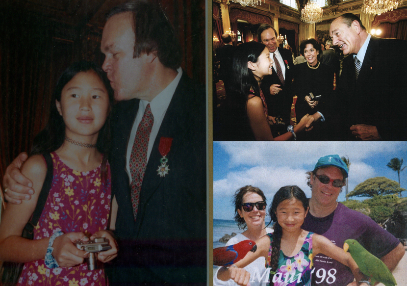 Clockwise from left:  Daughter Maia with Parker, Parker family with Jacques Chirac 1999, Parker family in Maui 1998