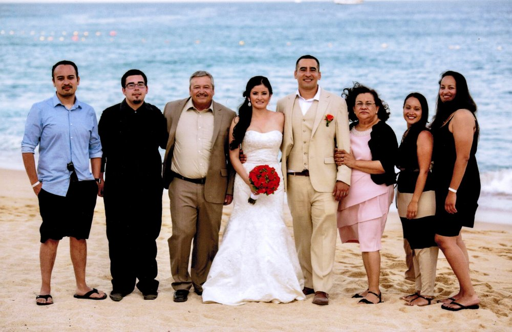 Hernandez (third from left), a devoted family man, pictured here at his son Marcelo's wedding in Cabo San Lucas