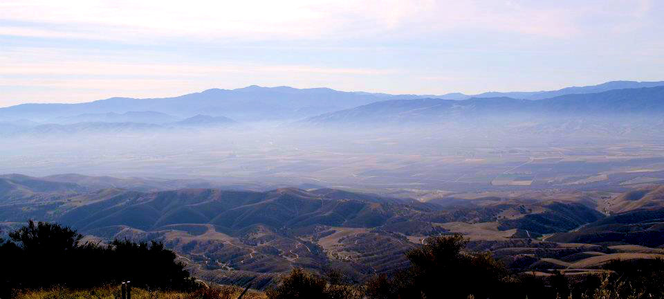 The fog moving into the Salinas Valley from the top of Chalone Peak.