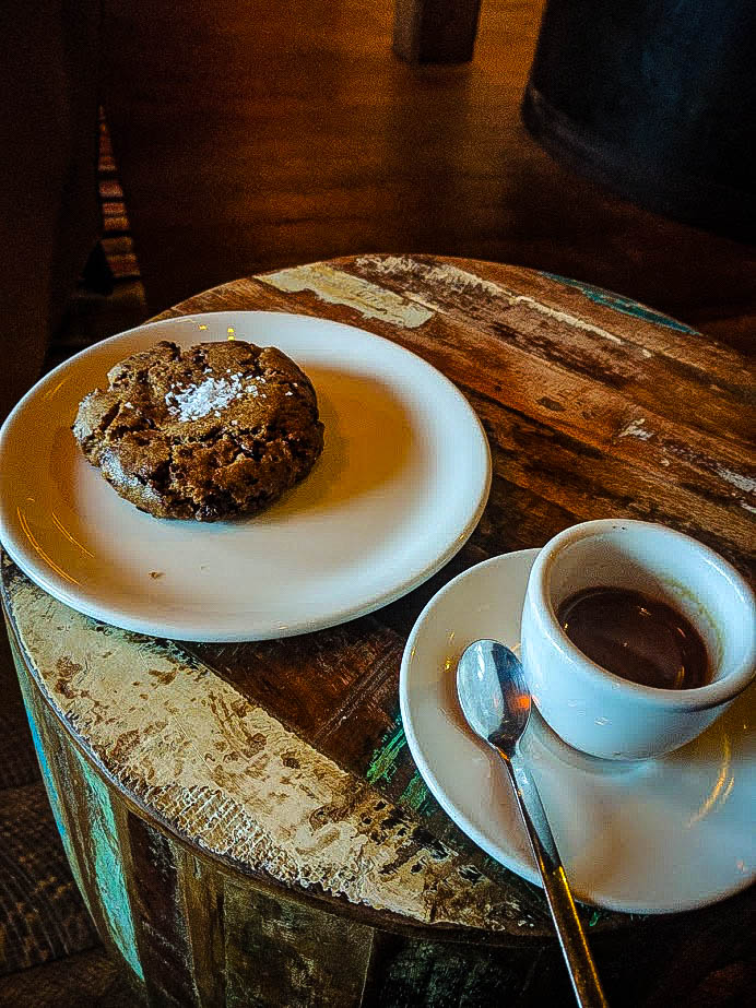 Chocolate chunk cookie and espresso