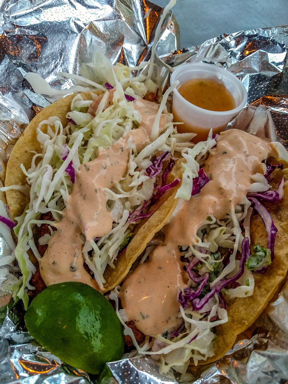 Superior fish tacos from Tresbe in Ocean Park.