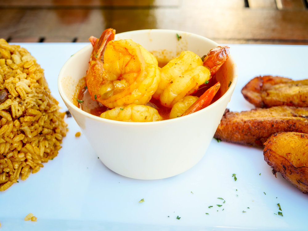 Shrimp with Creole Sauce, Arroz con Gandules, and Platanos Fritos