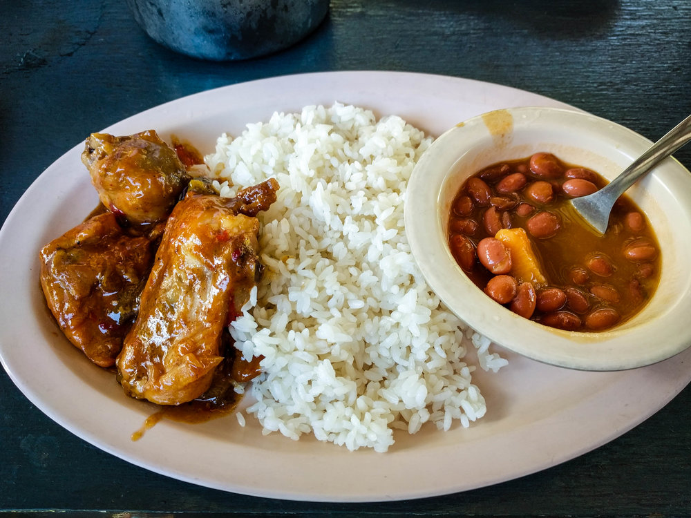Chicken, rice and beans from a rain forest farm.