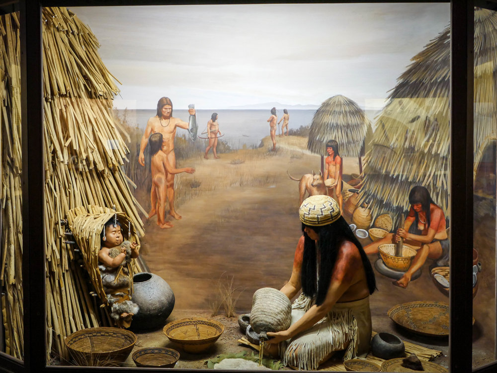 Basket weaving diorama in the Chumash exhibit.