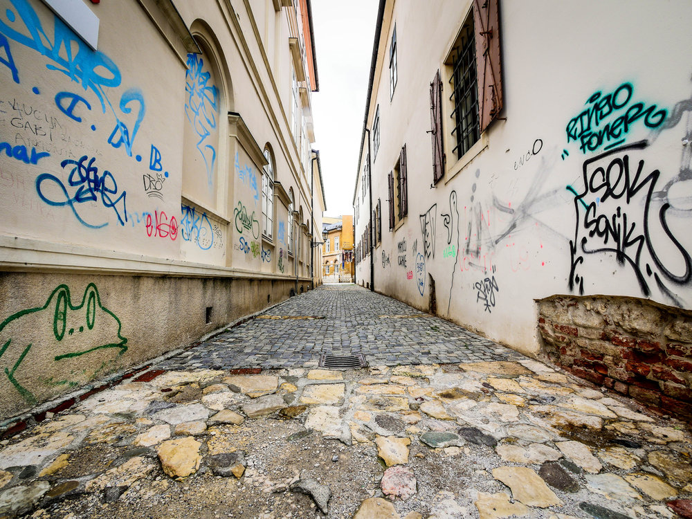 An alleyway in oldtown Zagreb.