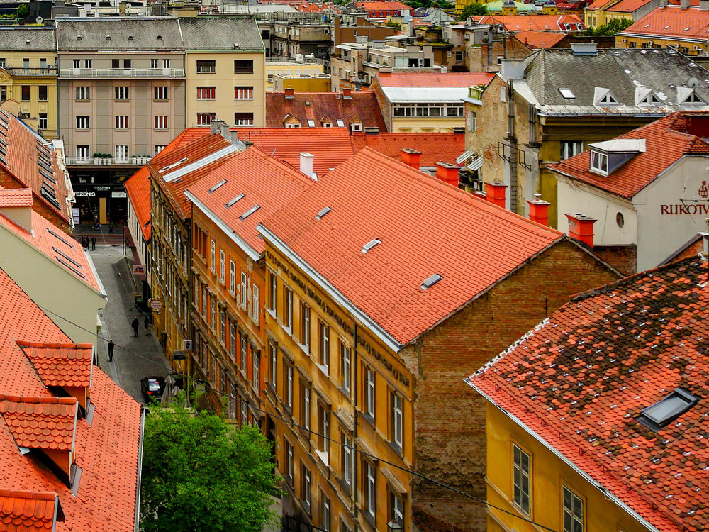 The eye-catching red roofs of Zagreb, a style found throughout Croatia.