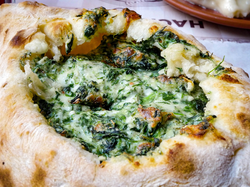 Spinach and cheese acharuli.