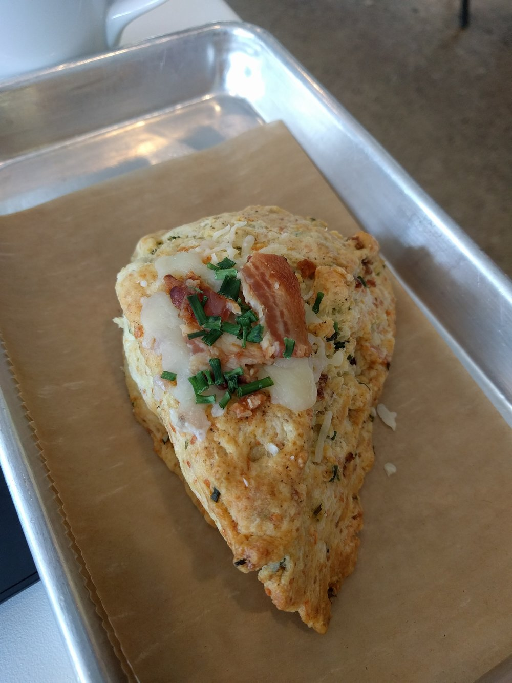 Cheddar, bacon, and chive scone from That Early Bird
