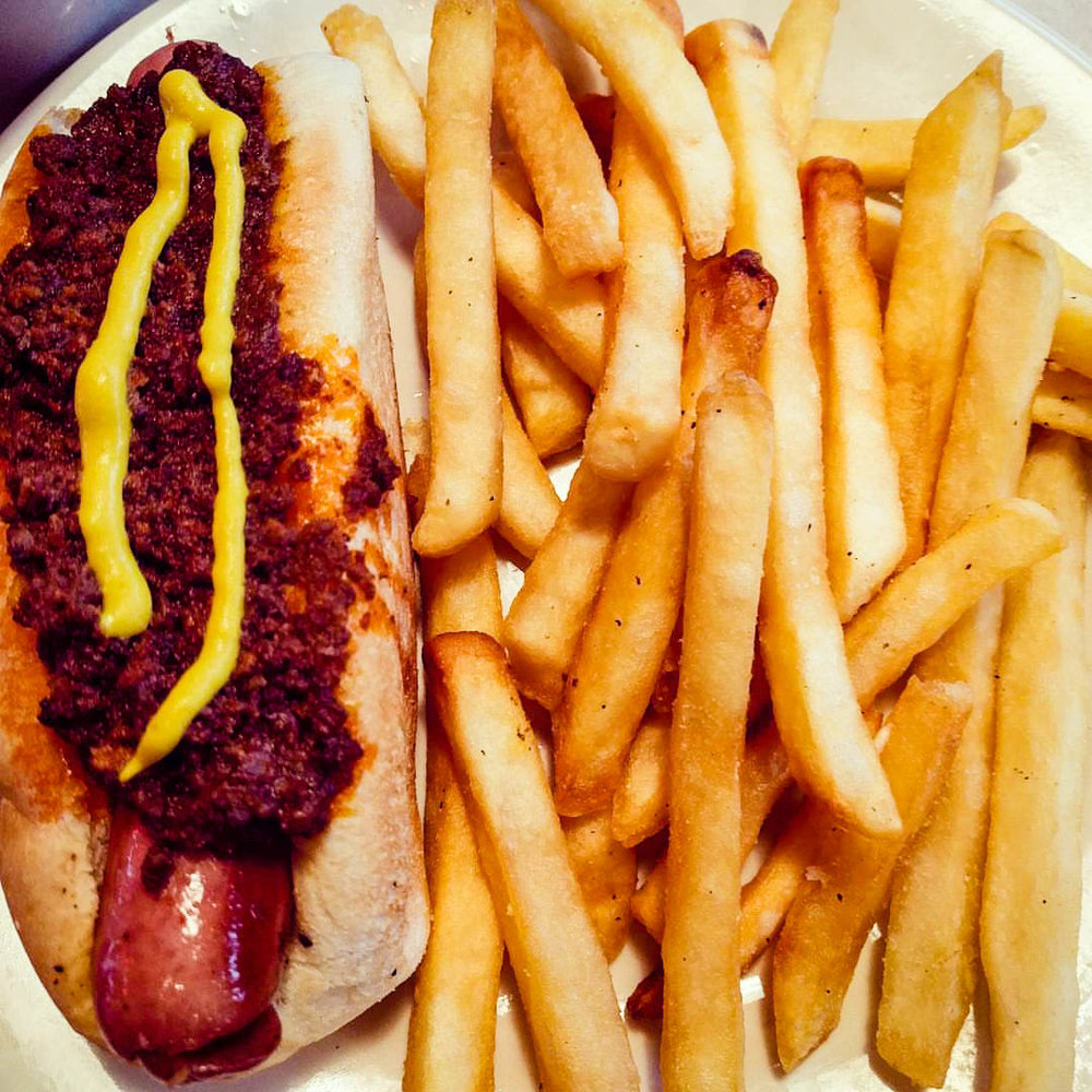A Detroit Coney with french fries from The Grand Coney