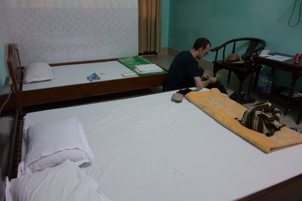 The non-bloody part of our Vinh Long hotel room.
