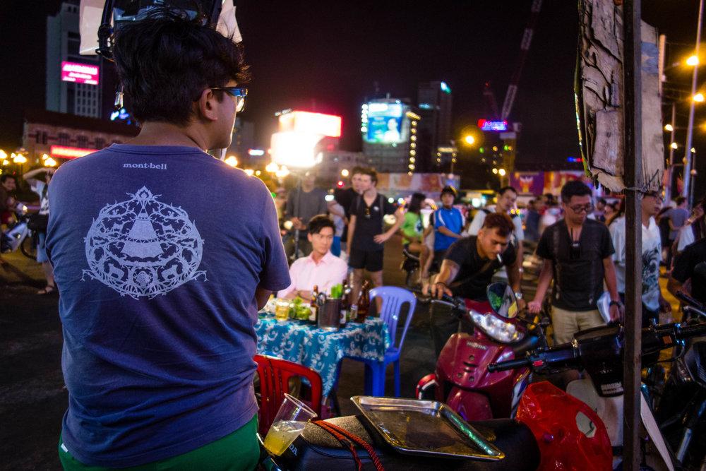 Night life scene in Ho Chi Minh City near Ben Thanh Market.