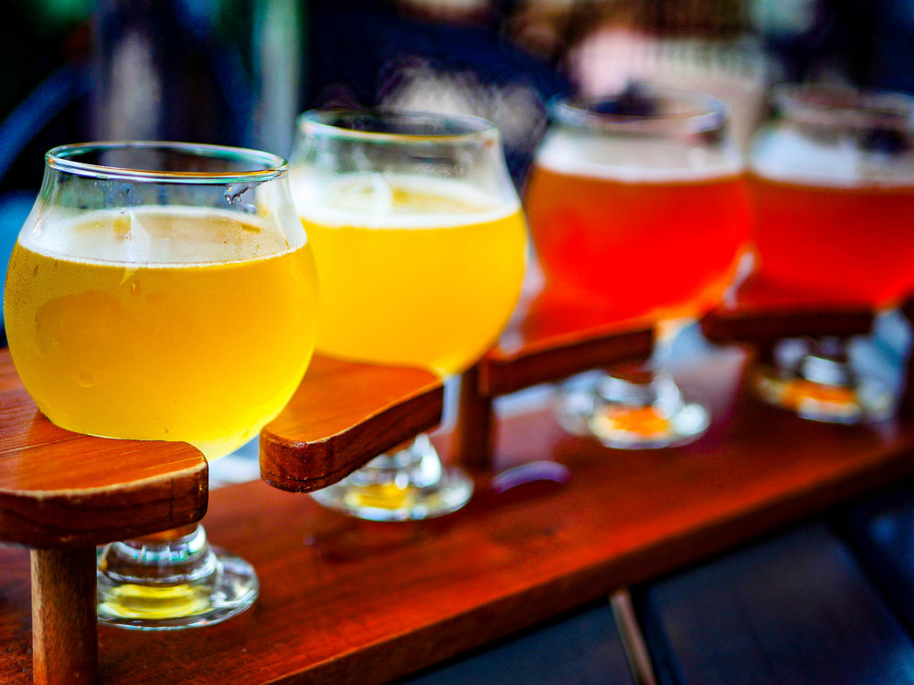 Beer flight from Brewery Vivant in Grand Rapids, Michigan. Featured beers: farmhouse ale, tropical saison, lange wapper (buckwheat beer), and contemplation golden.