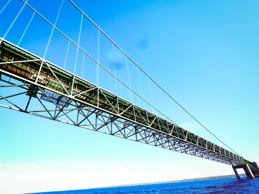 Mackinac Bridge connecting the two peninsulas of Michigan is the world's 19th longest main span and the longest suspension bridge between anchorages in the western hemisphere.