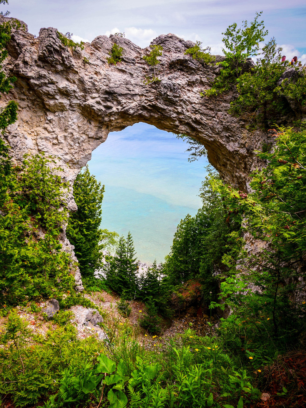 The natural arch at Mackinac Island is one of numerous tourist attractions on this adorable island in Lake Huron.