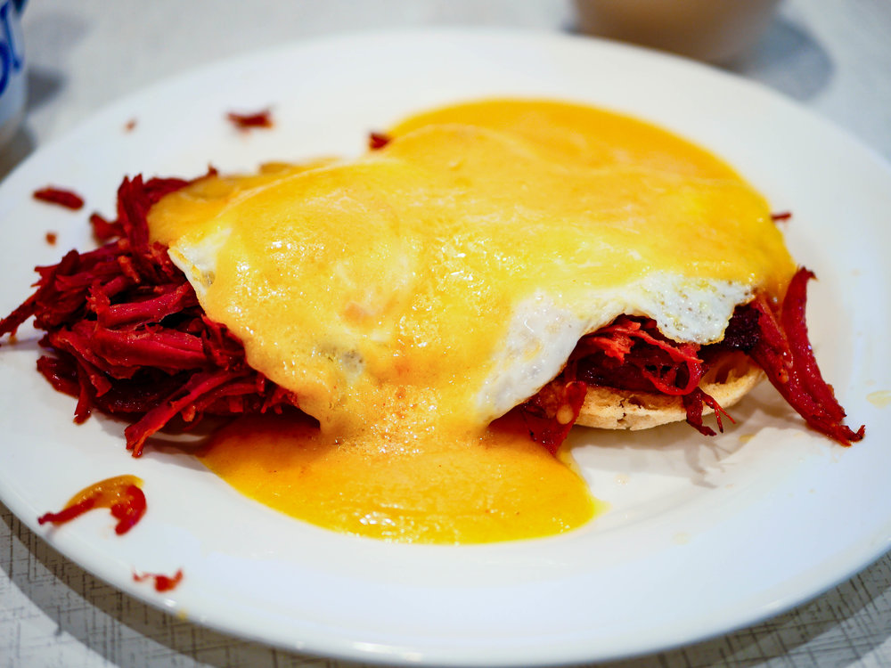 Enjoy tasty breakfasts like this corned beef egg's benedict from Anna's House in Grand Rapids.