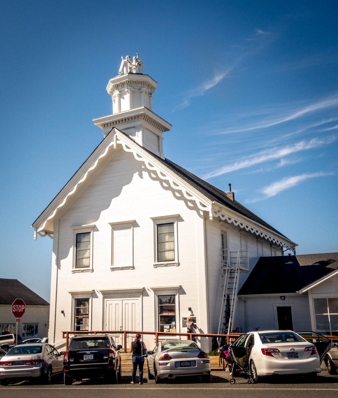 A bank building in Mendocino Village on the northern California coast.
