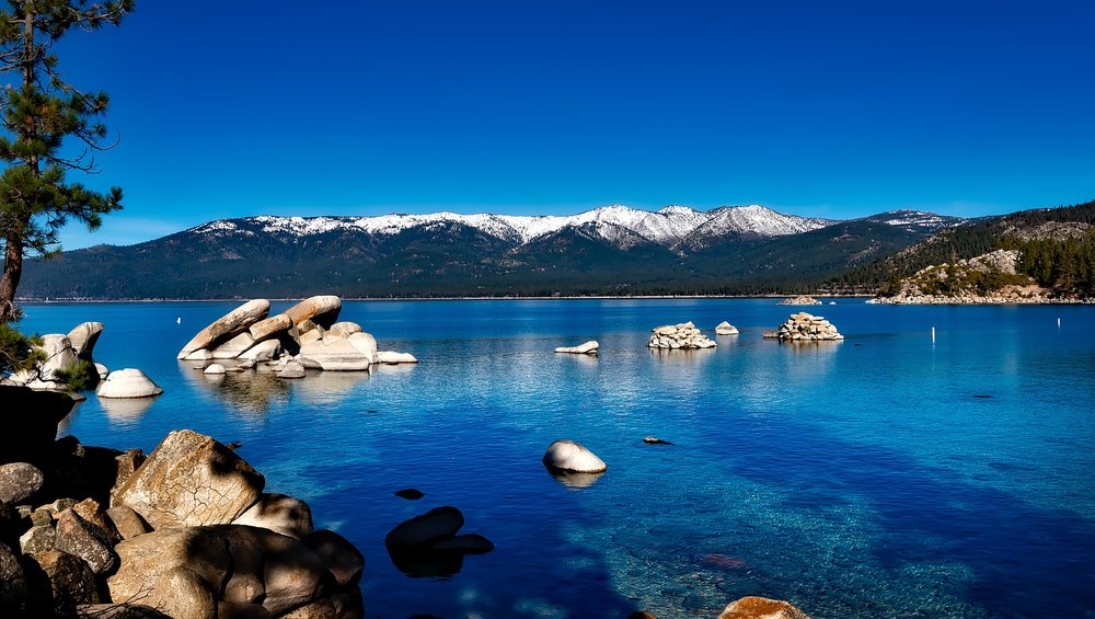 Crystal clear blue waters at Lake Tahoe.