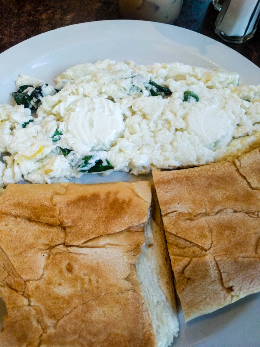 Baguette with egg white scramble. Delicious.