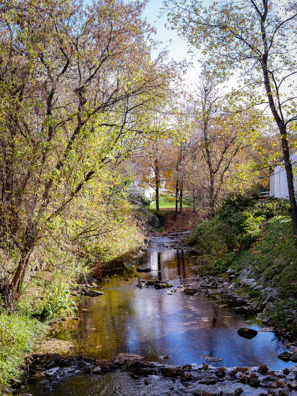 A pretty creek in the quaint Vermont town of Woodstock.