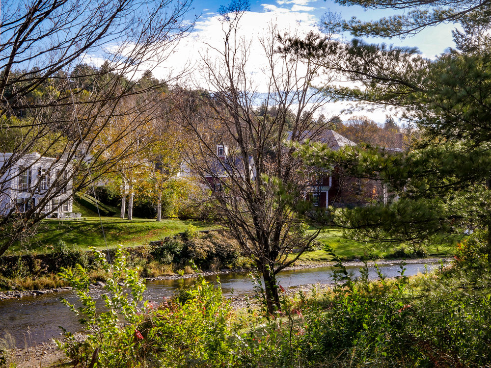 Homes along the creek in Woodstock, Vermont.