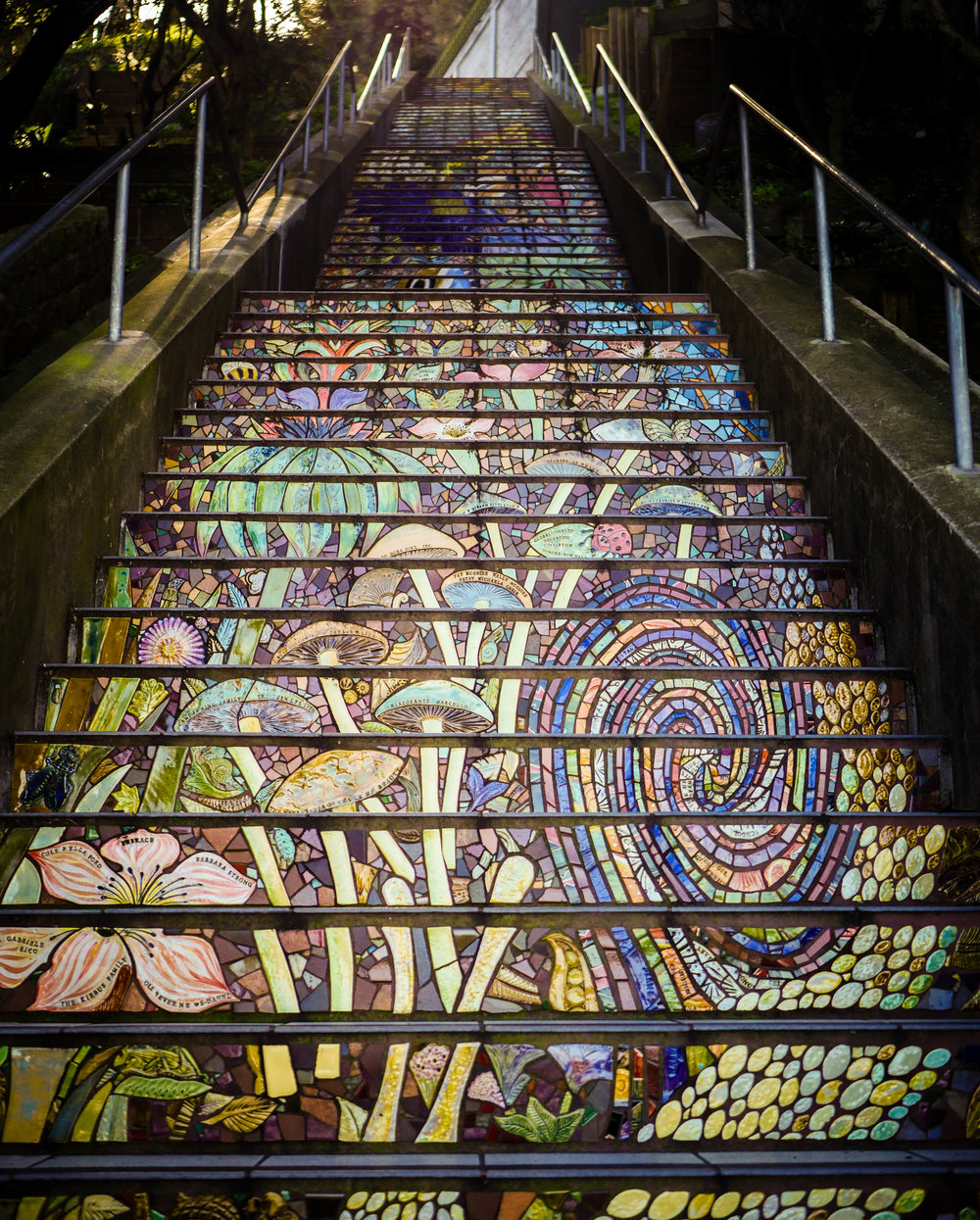 Colorfully tiled steps are a feature throughout San Francisco.