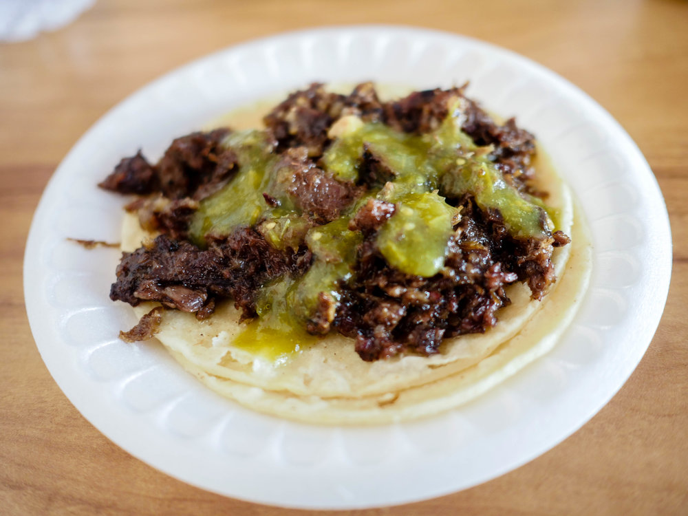 Cachete taco with salsa verde from Lilly's Taqueria