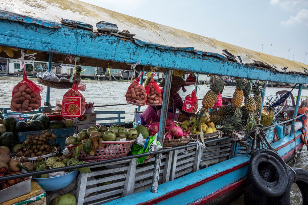 A boat selling fruit on the Mekong River in Vietnam.