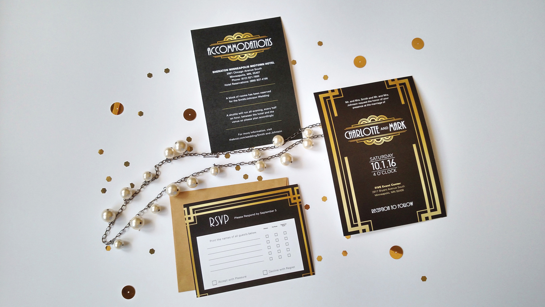 Great Gatsby Wedding Invitation Set - Gold Foil Texture - Custom ...