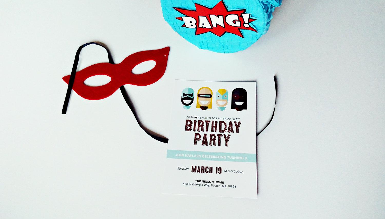 Superhero Kid Birthday Party Invitation Custom Colors Merro Design Co