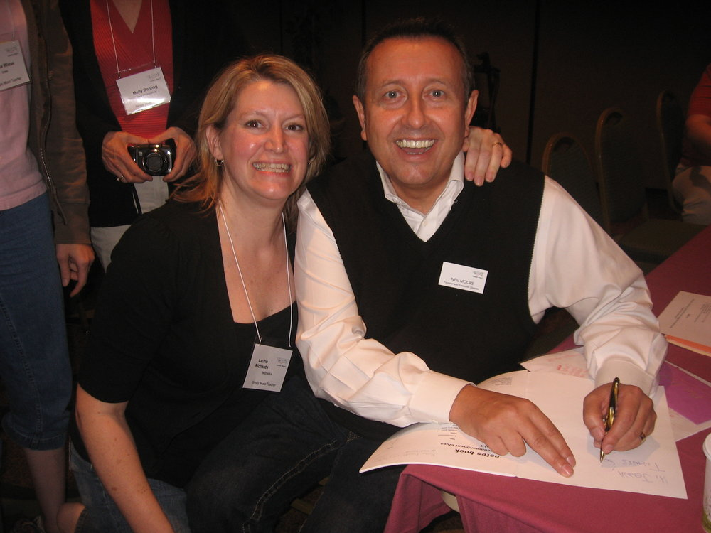 Laurie and Simply Music creator Neil Moore in Omaha, 2005