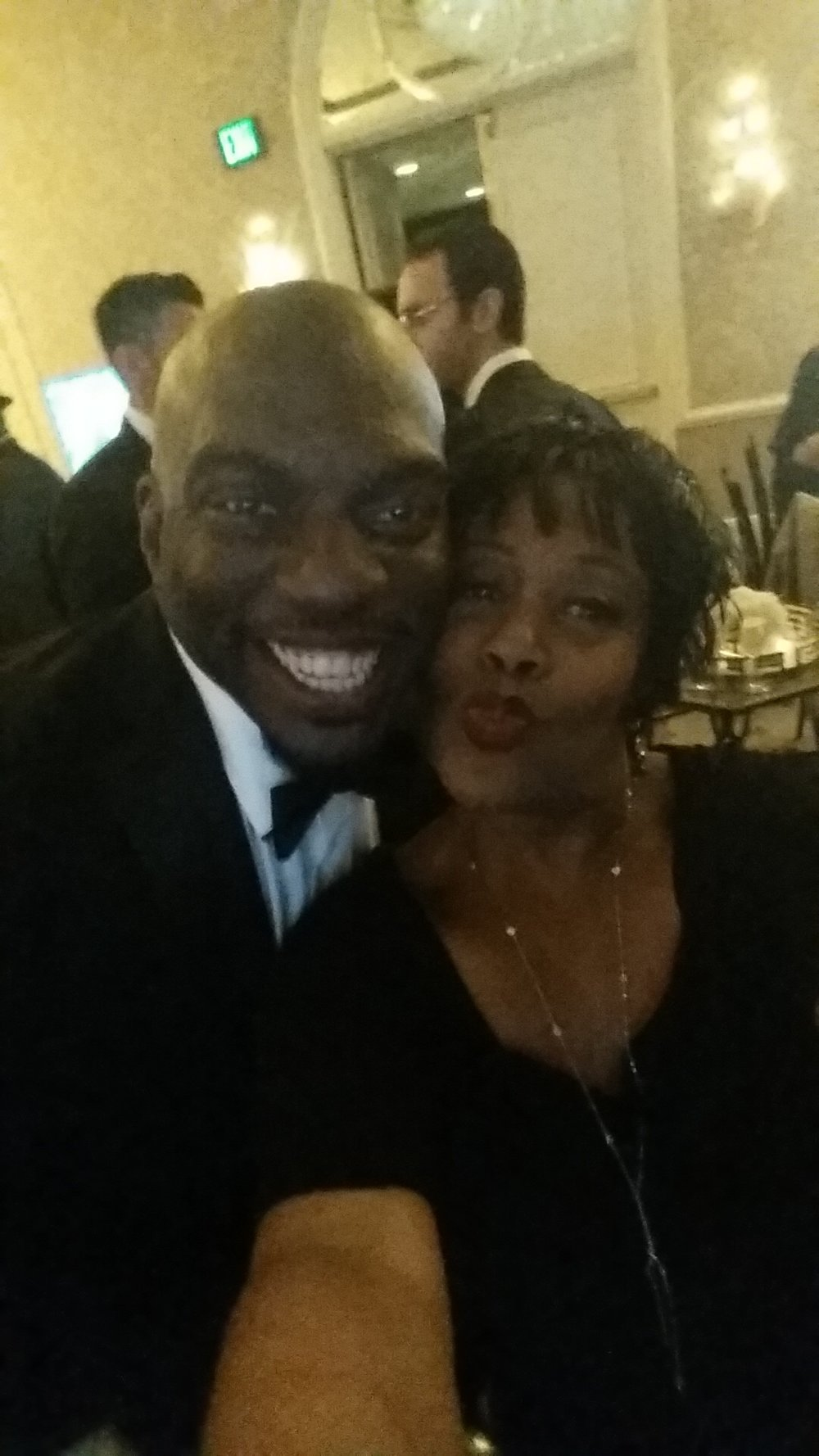 SElma's Omar dorsey and Carla Renata at the aafca oscar screening party