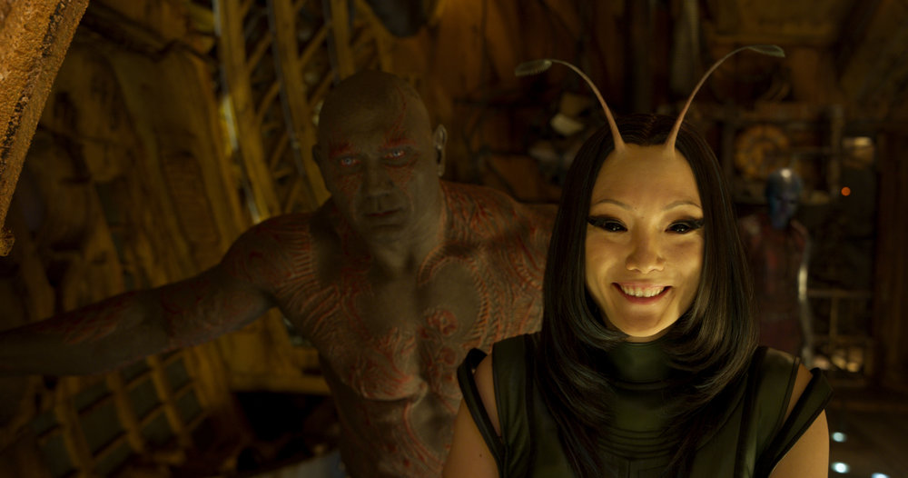 Guardians Of The Galaxy Vol. 2..L to R: Drax (Dave Bautista) and Mantis (Pom Klementieff)..Ph: Film Frame..©Marvel Studios 2017