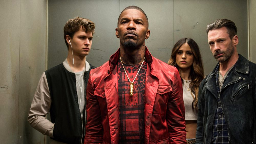 "Jaime Foxx and the cast of ""Baby Driver"""