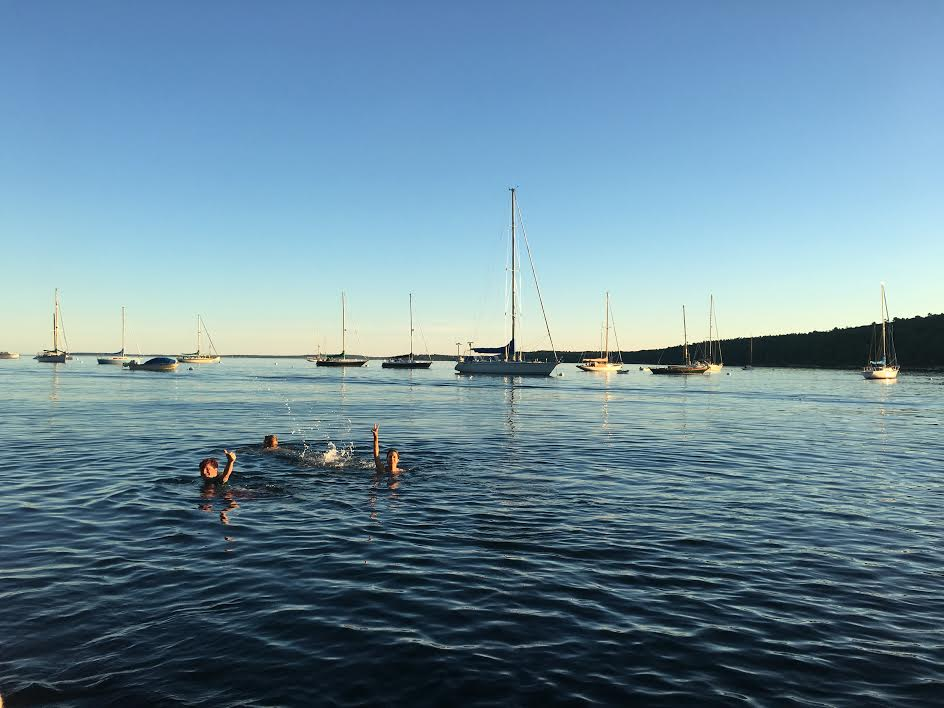 swimming in Rockport, Maine.