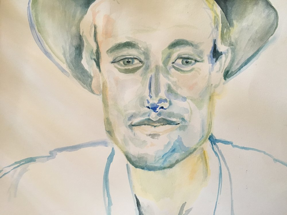 watercolor of James wearing a hat