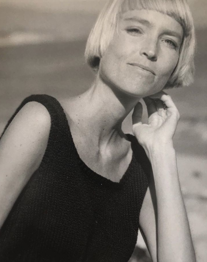 Kate in 1987, the year she started her knitwear business in Montecito