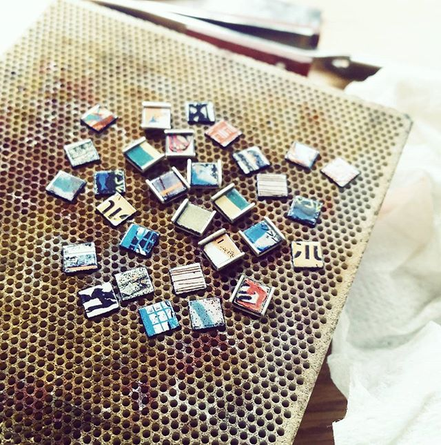 Assembling some small earrings today #jewellersbench #instadaily #jewelry #earrings #enamel #silver #colour #jewellery