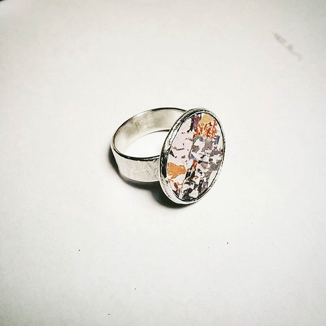 Special ring I made for my friend for her birthday  #ring #silver #enamel #present #statementjewelry #statementring #birthdaypresent #jewellery