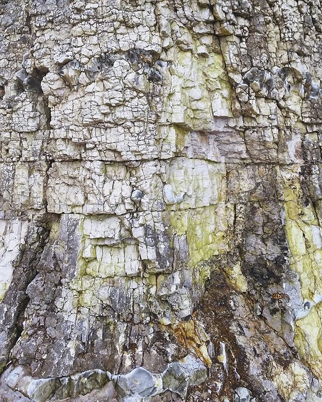 Amazing texture of the limestone and flint rock face of the caves #texture #cave #rock #structure #ireland #portrush #whiterocks