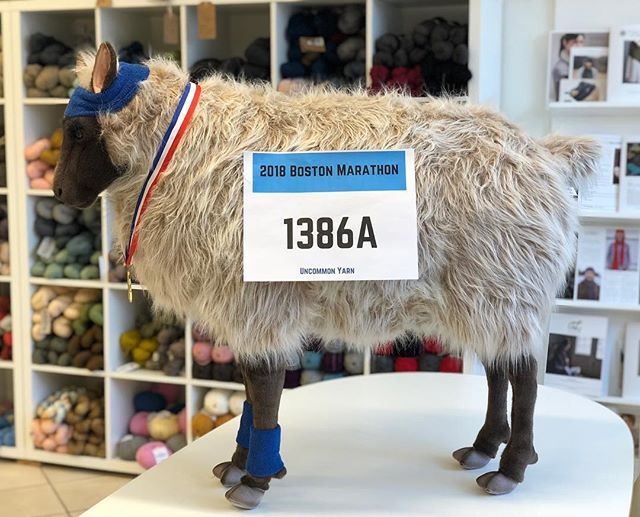 Wooliam is getting excited for the Boston Marathon! . . . . . . . . . . . . . . . . #yarn #fiber #wool #fiberart #knit #knitting #knitter #knittersofinstagram #crochet #crocheter #crocheting #crochetersofinstagram #make #makers #makersgonnamake #create #color #colorful #indiedyer #indiedyed #brookline #boston #bostonmarathon #bostonstrong