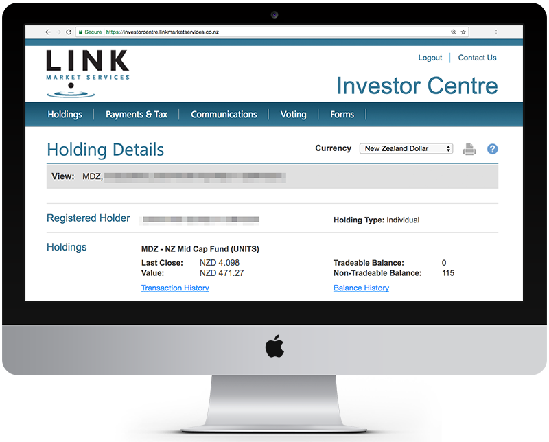 Link Market Services screen showing current holdings.