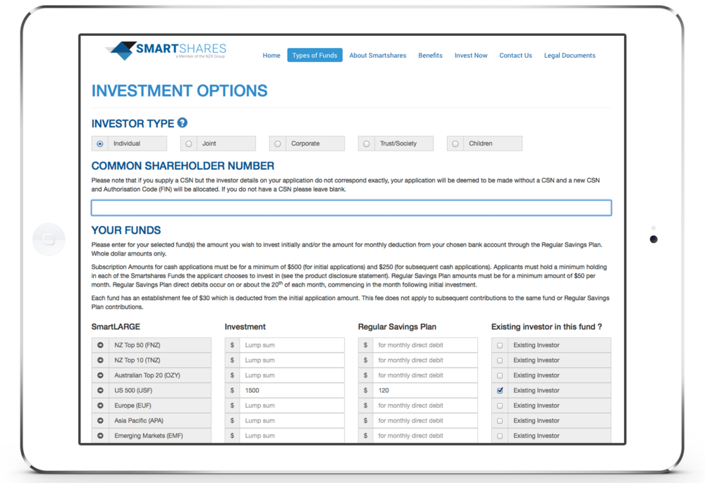 Select your Investment Options. Click image to enlarge.