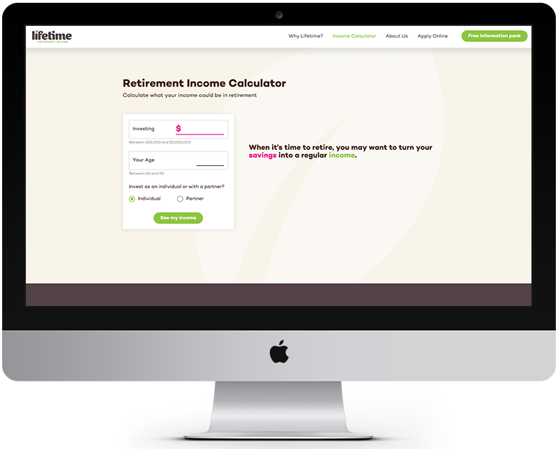 Lifetime - Retirement Income Calculator