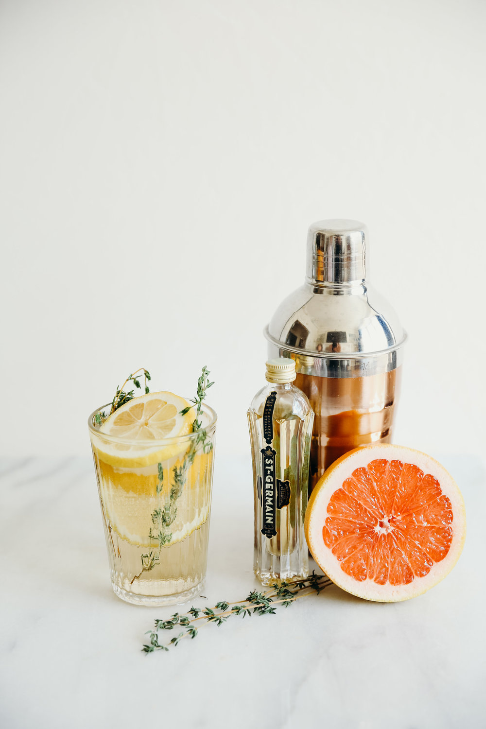 St Germain Cocktail with Lemon and Grapefruit | Hillary Jeanne Photography | Food Photography