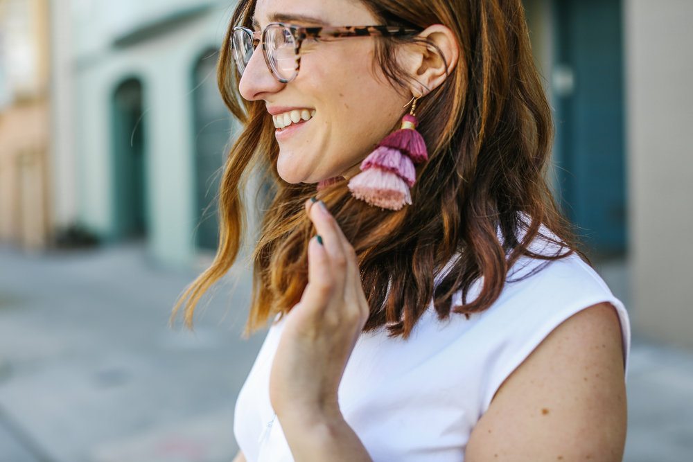Blog Photo Shoot: Aimee Rancer from The Ohio Transplant in pink tassel earrings
