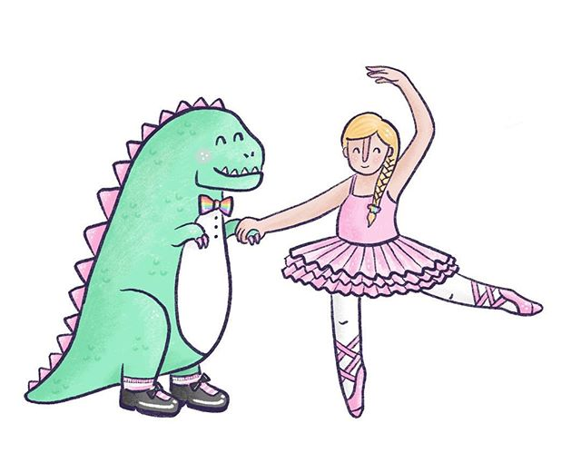 Little Bean has requested a dinosaur/ballerina/rainbow themed party for her 5th birthday🎉 You know I'm up for the challenge😂 She gave me instructions that the dino must have fancy black shoes and a rainbow bow tie to match the ballerinas scrunchy. . . . #creativemumlife #illustratorsoninstagram #nzillustrator #dancingdinosaur #kidslitart #dunedinillustrator