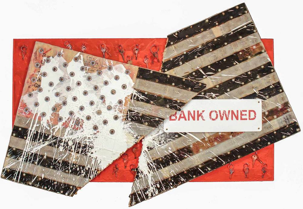 "Bank Owned, 2012,  26x48""  Engineered plywood, roofing felt, roofing nails, repossessed home owners keys, foreclosure sign and encaustic on board."