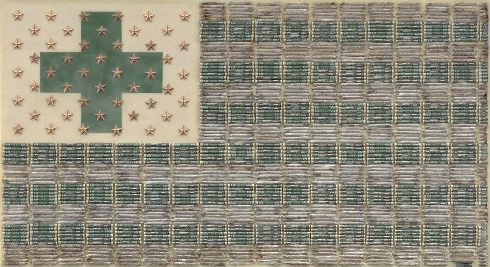 "Medical Marijuana 2016, 26X48"" Rolled dollar currency, marijuana joints, gold metallic 5-point stars and encaustic on board."
