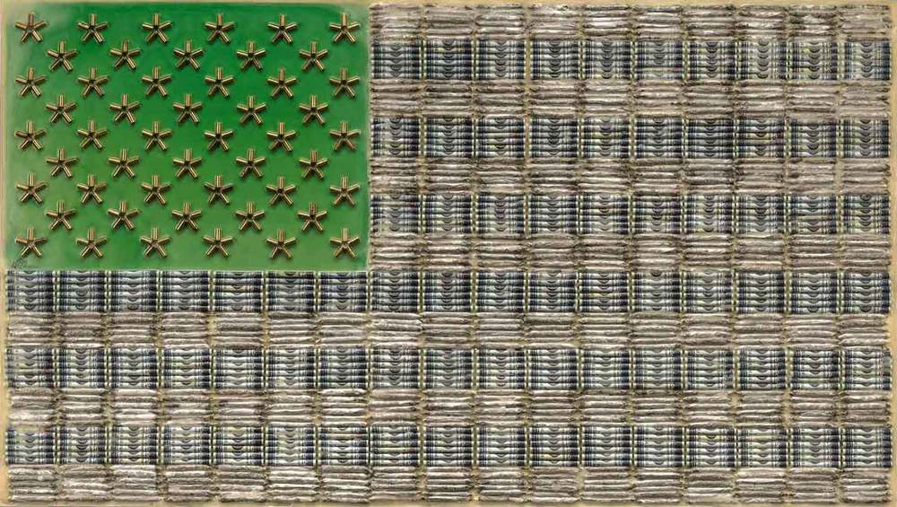 "Cartel, 2012, 26 X 48"" Rolled dollar bills, rolled marijuana joints, brass small caliber shells and encaustic on board."