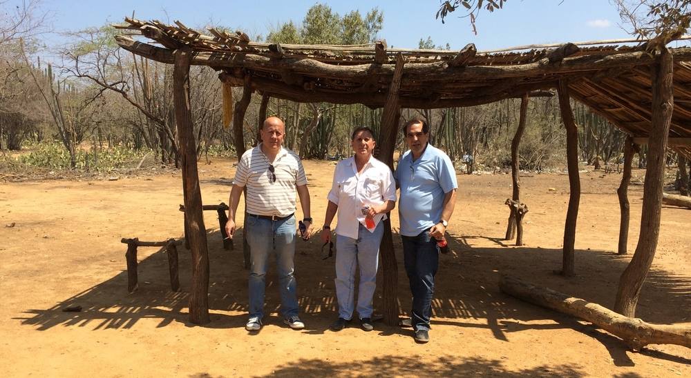 Colombian lawyer Dr. Gustavo Montañez, retired DEA Agent James Shedd and Mr. Abreu in La Guajira Province, Colombia - about to begin a meeting with a potential client facing extradition to the United States.